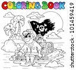 Coloring book with pirate topic 2 - vector illustration. - stock vector
