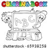 Coloring book with school images 2 - vector illustration. - stock photo