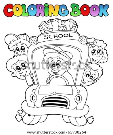 Coloring book with school images 3 - vector illustration. - stock vector