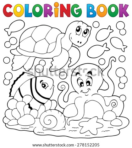 Coloring book with sea animals 5 - eps10 vector illustration. - stock vector