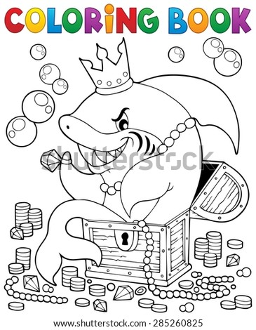 Coloring book with shark and treasure - eps10 vector illustration. - stock vector