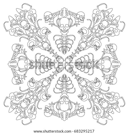 coloring book with skulls craniums and bones zentangle bones pattern repeating forms - Fractal Coloring Book