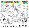 Coloring book with small animals 1 - vector illustration. - stock vector