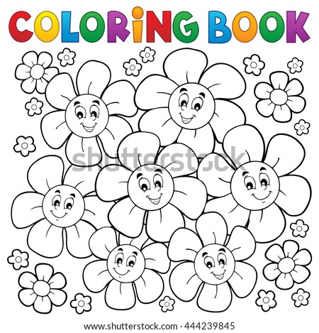 Coloring book with smiling flowers 1 - eps10 vector illustration. - stock vector