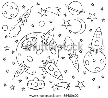 coloring book with spaceships in the universe , vector illustration - stock vector