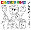 Coloring book with summer pictures - vector illustration. - stock vector