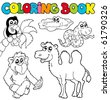 Coloring book with tropic animals 3 - vector illustration. - stock vector