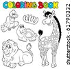 Coloring book with tropic animals 2 - vector illustration. - stock vector