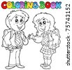 Coloring book with two students - vector illustration. - stock vector