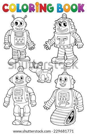 Coloring book with various robots - eps10 vector illustration. - stock vector