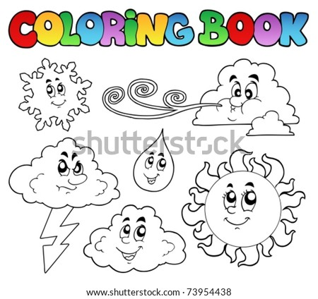 Coloring book with weather images vector illustration