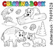 Coloring book with woodland animals - vector illustration. - stock vector