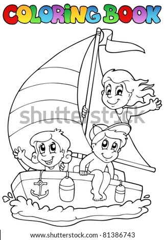 Coloring book with yacht and kids - vector illustration. - stock vector