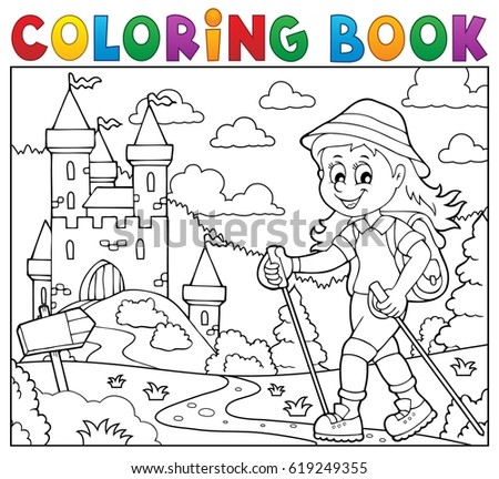 Coloring book woman hiker theme 2 - eps10 vector illustration.