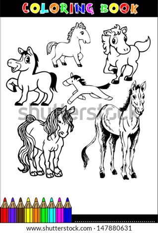 Coloring books or coloring page cartoon illustration of a black and white horse - stock vector