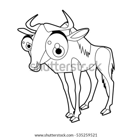 coloring cute cartoon animals collection cool funny illustration of wildebeest