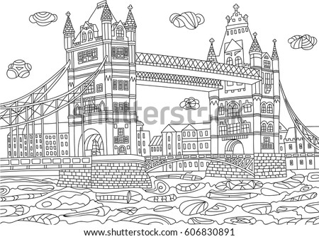 Coloring Adult Paris France Coloring Page Stock Vector