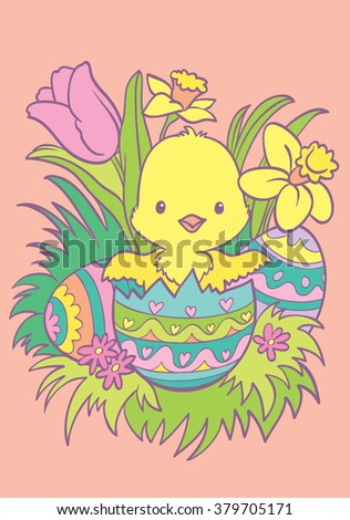 Coloring. Happy Easter. Cartoon chick in an Easter egg. Vector illustration. Cartoon Vector Illustration.