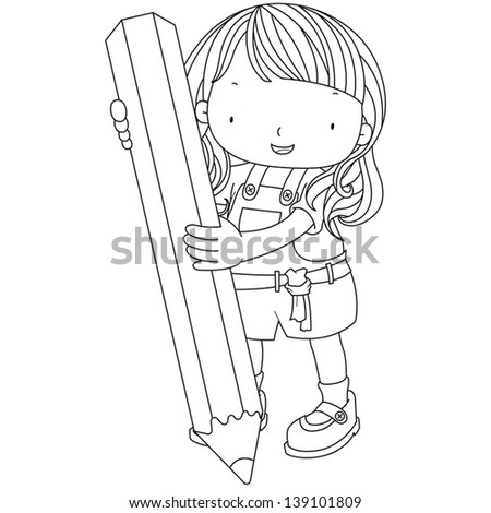 coloring illustration of a girl with pencil. - stock vector