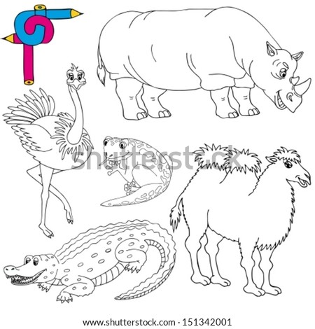 Coloring image wild animals 02 - vector illustration. - stock vector
