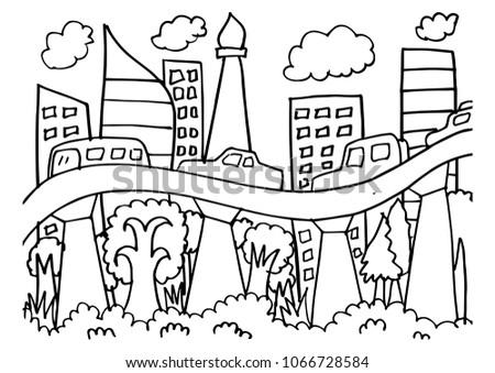 Coloring Jakarta City Skyline Stock Vector 1066728584