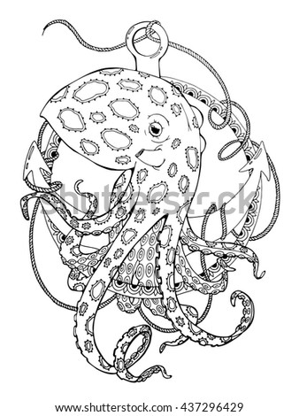 coloring page about octopus and anchor