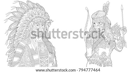 Indian Tribal Coloring Pages. Coloring Page  Adult Book Native American Indian Chief and Apache Woman Navajo Stock Vector 794777464