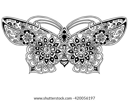 Coloring Page Beautiful Butterfly Stock Vector 420056197