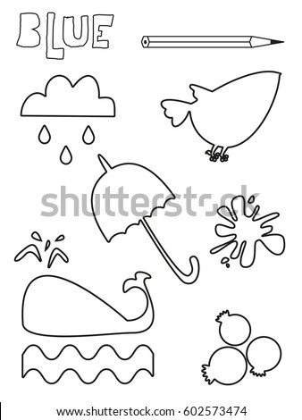 Coloring Page Blue Things Set Single Stock Vector 602573474