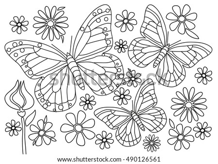 coloring page butterflies with flowers