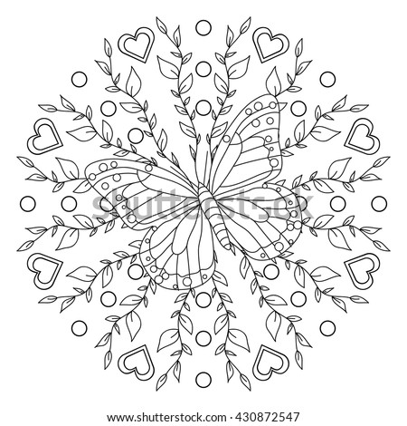 Coloring Page Butterfly Mandala Stock Vector HD (Royalty Free ...