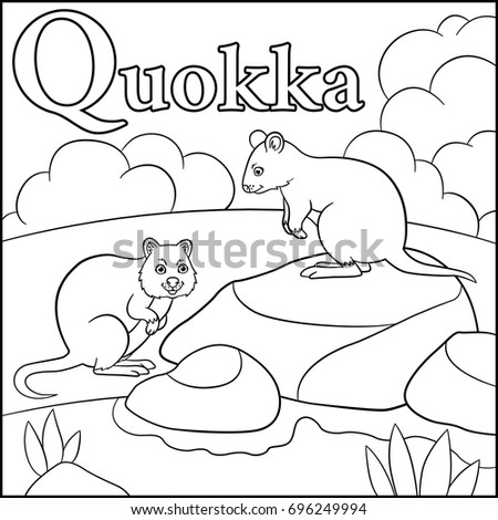 Coloring Page. Cartoon Animals Alphabet. Q Is For Quokka.