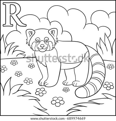 Coloring Page Cartoon Animals Alphabet R Is For Red Panda