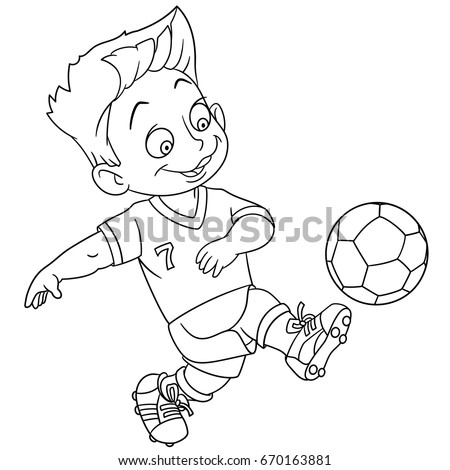Coloring Page Cartoon Boy Playing Football Vector Illustration For Kids And Children