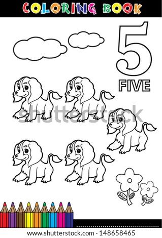 Coloring page cartoon illustration of a Number. 5 with a circus for children's education and fun. - stock vector
