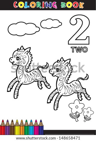 Coloring page cartoon illustration of a Number. 2 with a circus for children's education and fun. - stock vector