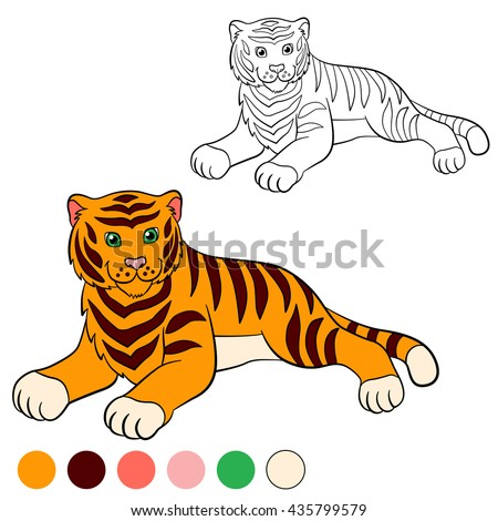 Coloring page. Color me: tiger. Cute tiger lays and smiles.