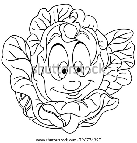 Coloring Page Coloring Book Cartoon Cabbage Stock Vector 796776397