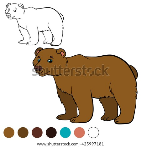 Coloring page. Cute brown bear smiles.