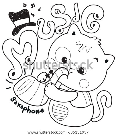 coloring page cute cartoon cat blowing saxophone isolated on white background illustration vector