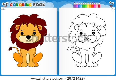 Coloring Page Cute Lion With Colorful Sample Printable Worksheet For Preschool Kindergarten Kids To Improve