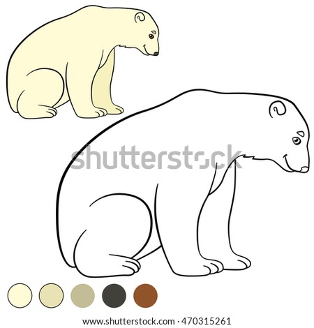 Coloring page. Cute polar bear sits and smiles.