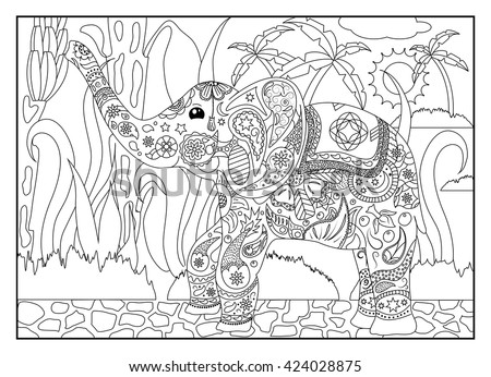 Coloring Page Elephant In Jungle Adult With Tropical For