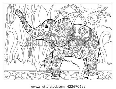 Coloring Page Elephant In Jungles Horizontal Outlined Illustration For Mandala Style