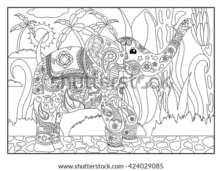 Coloring Page Elephant With Bananas Adult Tropical For Adults