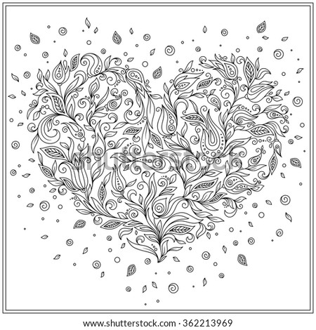 Coloring page flower heart St Valentine's day. Coloring page with details isolated on white background . Doodle zentangle pattern for relax and meditation. Black line art on white background. - stock vector