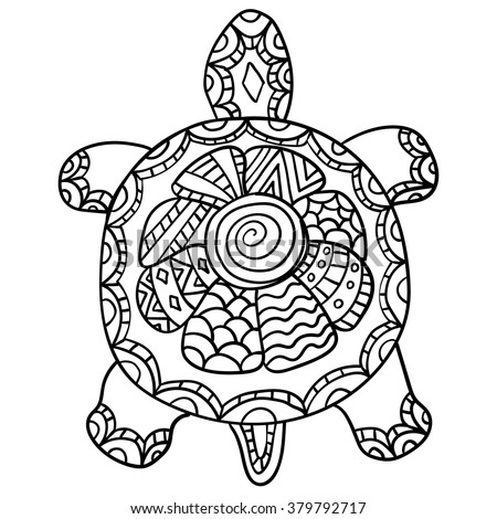 Coloring Page Adult Drawing Zentangle Turtle Stock Vector