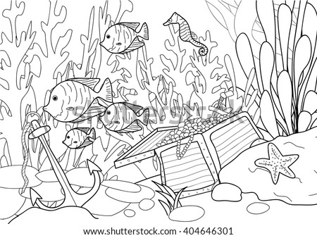 Coloring page for adult - Treasure under the sea - stock vector
