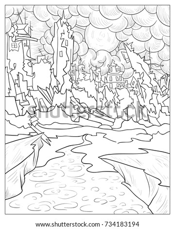 Coloring Page For Adults And Children A Destroyed City With Clouds SunLine Art