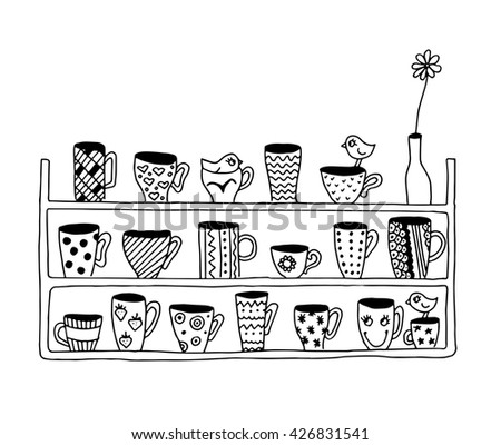 Coloring Page For Kids Birds On The Kitchen Shelf And Funny Cups With Pattern